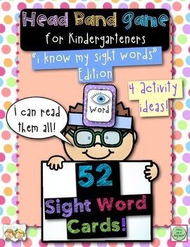 Head Band Sight Word Cards and Activities for Kindergarteners
