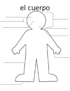 Head, Shoulders, Knees and Toes Spanish Worksheet / El Cuerpo / Label & Color