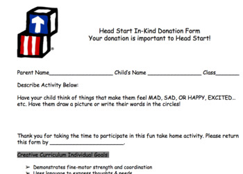 Head Start In-Kind Send Home Activities