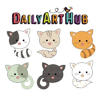 Head Tail Cats Clip Art - Great for Art Class Projects!