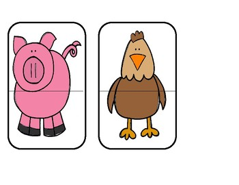 Head To Toe Animal Match - Funny Farm Puzzles