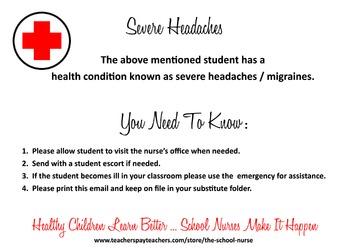 Headache/Migraine health information card JPG