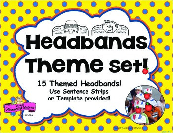 Headband for Kinders! ~18 Themed Headbands - Use Sentence Strips or Template!