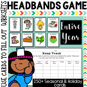 Entire Year of Seasonal and Holidays Writing Center using Headbands Game