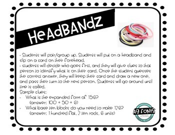 Headbandz - Place Value - Expanded Form & Base Ten