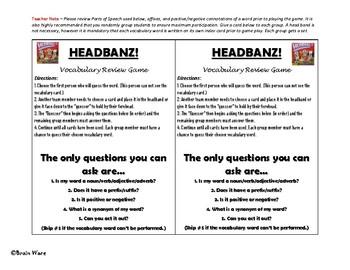 Headbanz! Vocabulary Review Game