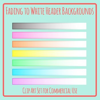 Header Backgrounds - Colors fading to White Ombre / Gradient Blank Titles