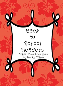 Subject Headers for Bulletin Boards or Charts