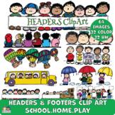 Headers SCHOOL, HOME, PLAY Clipart (Karen's Kids Clipart)