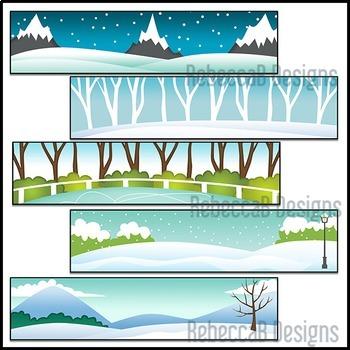 Winter Headers Clip Art