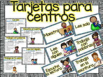 Headers and Posters for Literacy Centers in Spanish Letreros para centros