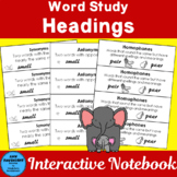 Headers for Use in Word Study Notebooks