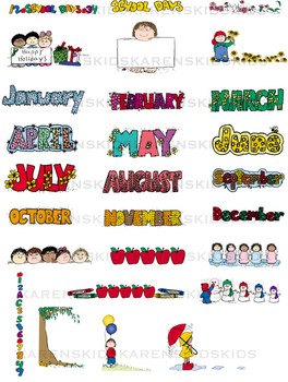 HeadersFooters MONTHLY THEMES Clip Art