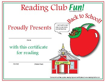 Heading Back to School Reading Log and Certificate Set