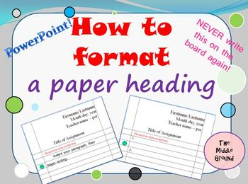 Heading Format How-to FREEBIE