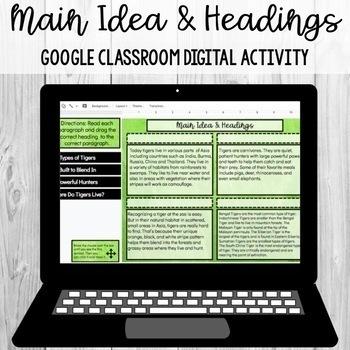 Headings (Main Idea/Details) Google Classroom Digital Activity [SOL 4.6a]