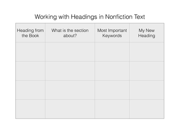 Headings in Nonfiction Text and Chapters in Fiction Text