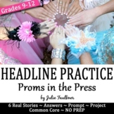 Headline Writing Practice for Yearbook or Newspaper, Prom Theme, NO PREP