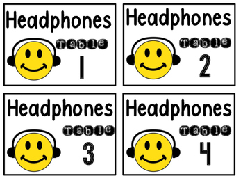 Headphone Basket Labels for Tables 1-4
