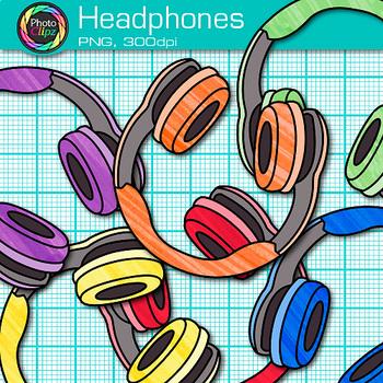 Headphone Clip Art {Rainbow Glitter Audio Devices for Music & Technology} 1