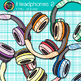 Headphone Clip Art {Rainbow Glitter Audio Devices for Music & Technology} 2