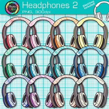 Headphone Clip Art {Rainbow Glitter Audio Devices for Music & Technology} 2
