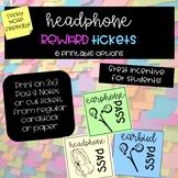 Headphone / Earphone Reward Tickets - Printable Post It / Sticky Note