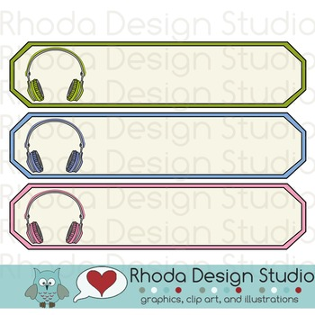 Name Tags with Music Headphones
