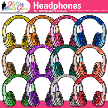 Headphone Clip Art {Rainbow Glitter Audio Devices for Music & Technology}