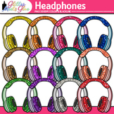 Headphone Clip Art {Rainbow Glitter Audio Devices for Musi