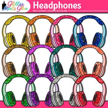 Headphone Clip Art {Rainbow Glitter Audio Devices for Musi