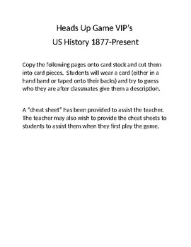 Heads Up VIP's Game US History 1877-Present