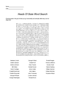 Heads of State (USA) Word Search - Class SET of 25