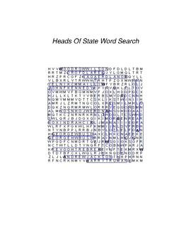 Heads of State (USA) Word Search - FREE