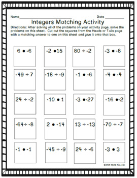 Heads or Tails Activities: Multiplying & Dividing Integers