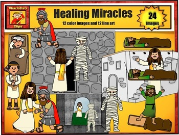 Healing Miracles of Jesus Clip Art set 2: Bible Series by
