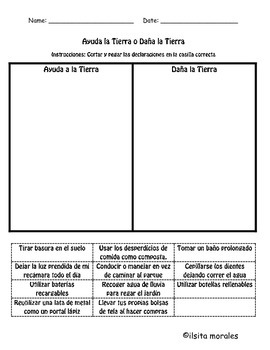 Earth Day Works Sheet English and Spanish (recycling)