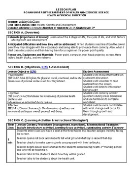 Health: 3rd Grade Growth and Development Lesson Plan