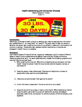 Health Advertisement Research Activity