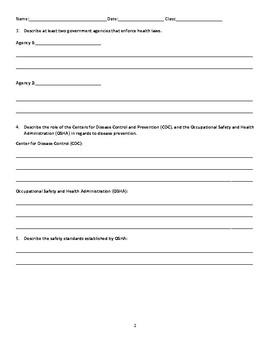 Health Agencies Worksheet