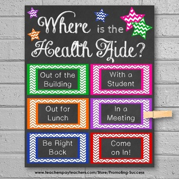 Where is the Health Aide Office Door Sign, School Nurse Printables