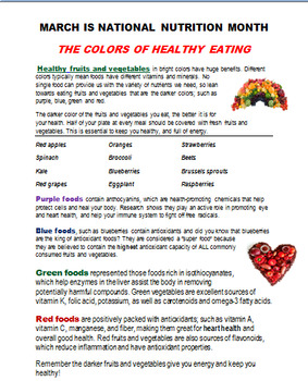 """Health Awareness Monthly Newsletter for March- """"National Nutrition Month"""""""