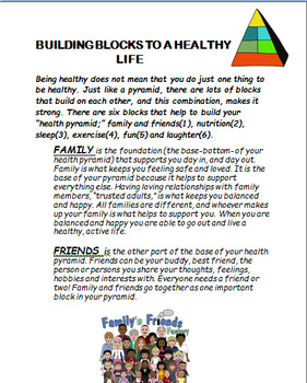 """Healthy life""""Building Blocks to A Healthy Life"""" lesson, 2 fun activities"""