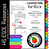 Health Care: Listen and Fill-in the blanks(Oral Comprehension)for ESOL, ELL, ESL