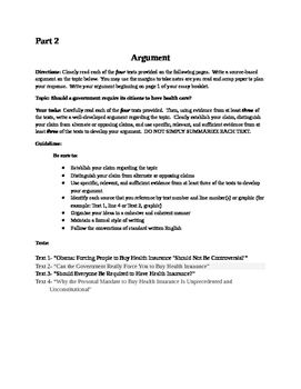 Health Care Practice Argument for the NYS Common Core Regents ELA exam