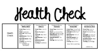 Health Check Week (5-day Thematic Unit) Includes Patterns and Printables