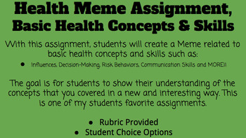 Health Concepts and Skills Meme Assignment