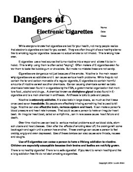 Health-Ecigarette reading comp/science
