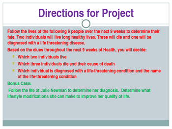 Health Education Case Study: Follow the lives of 7 individuals