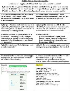 Health, Exercise, Illness & Remedies - Preguntas Esenciales (Realidades 3 Ch. 3)